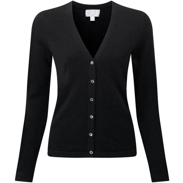 black cardigans cashmere v neck cardigan ($148) ❤ liked on polyvore featuring tops,  cardigans, PNHFLEU