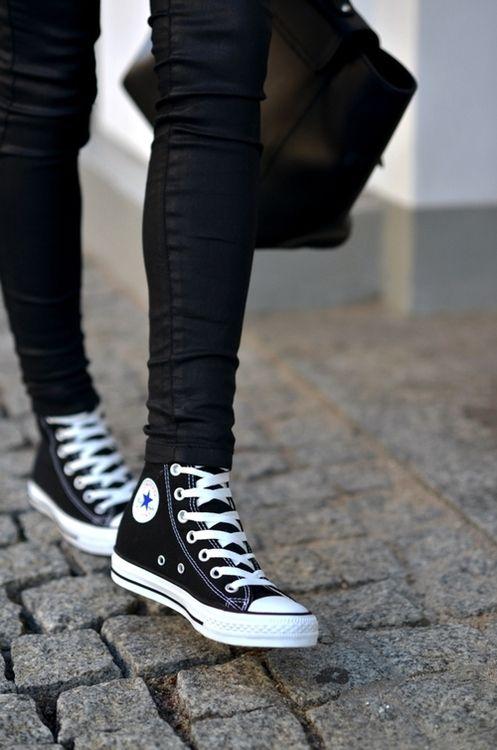 black converse high tops mens