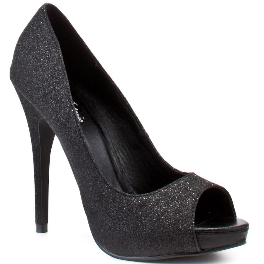 black glitter heels keme - black glitter pu main view NRKEMHS