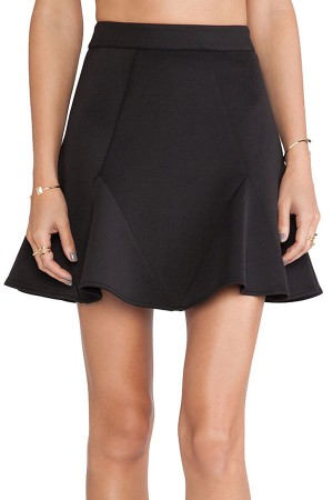black high waisted skirt black high waist splicing casual flare skirt XZGZEEG