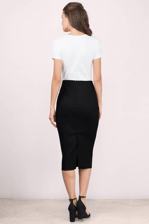 black high waisted skirt ... grace black midi skirt DSLQPBK