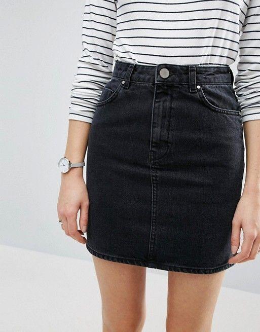 black high waisted skirt http://www.asos.com/asos/asos-denim- · high waisted black ... XERLYYI