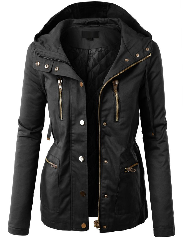 black jackets for women le3no womens fully quilted lined anorak hoodie jacket with pockets VBONVPU