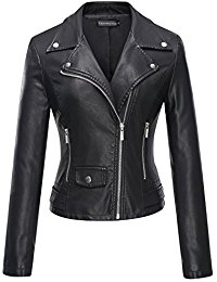 black jackets for women tanming womenu0027s faux leather moto biker short coat jacket XJXWOOY