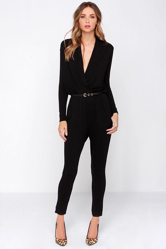 black jumpsuits cool black jumpsuit - surplice jumpsuit - long sleeve jumpsuit - $34.00 VOXHFPB