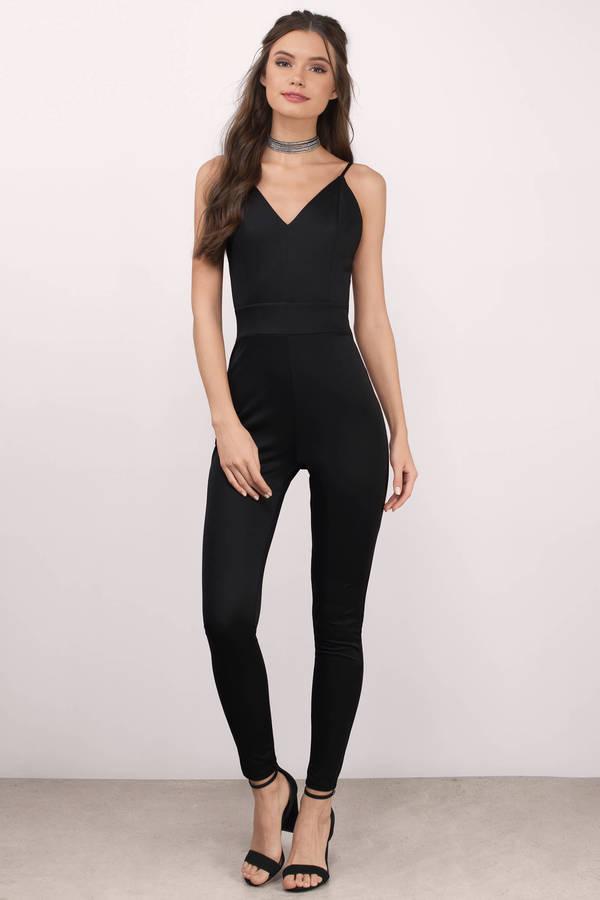 black jumpsuits jumpsuits, black, mandy knitted v-neck jumpsuit ... GJTUHTD