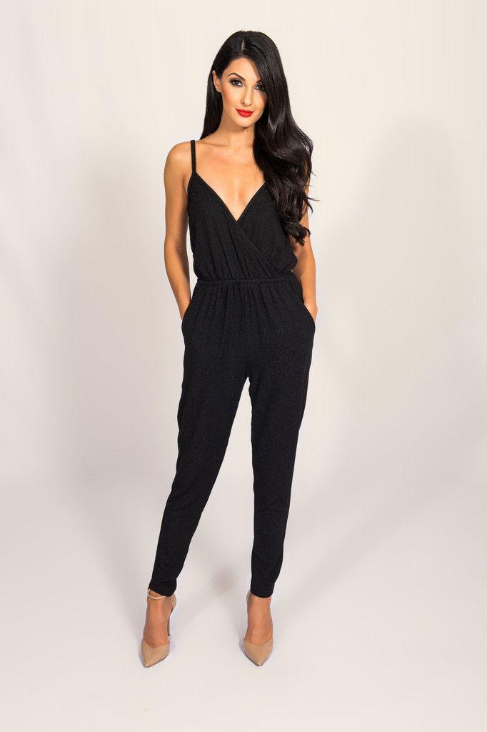 black jumpsuits lucca couture black metallic jumpsuit | metallic thread throughout deep  v-neckline sleeveless spaghetti YDFVJZO