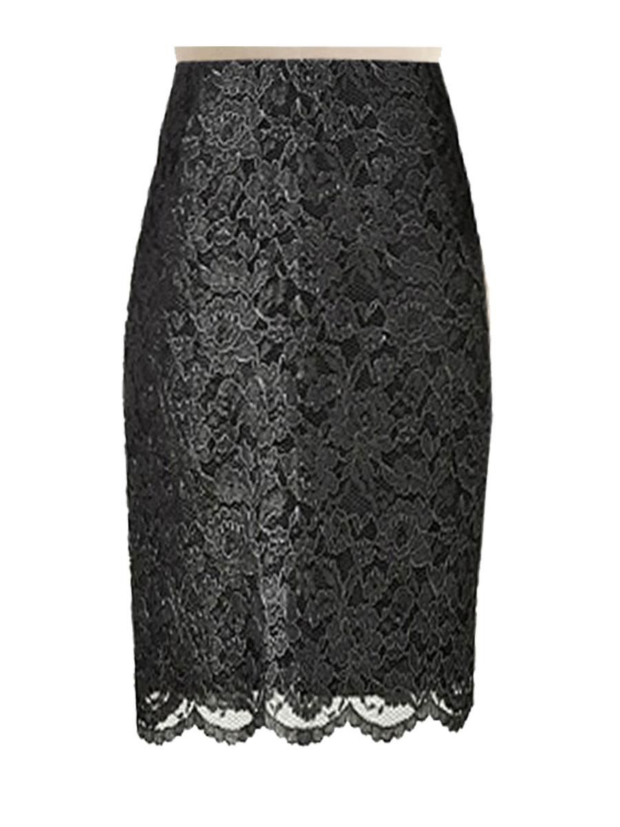 black lace skirt black lace pencil skirt, custom handmade, fully lined ZEEWAJT