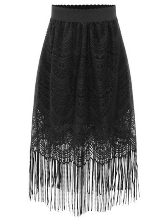 black lace skirt outfit black fringe high waist a-line lace skirt - black s MXVXNWT