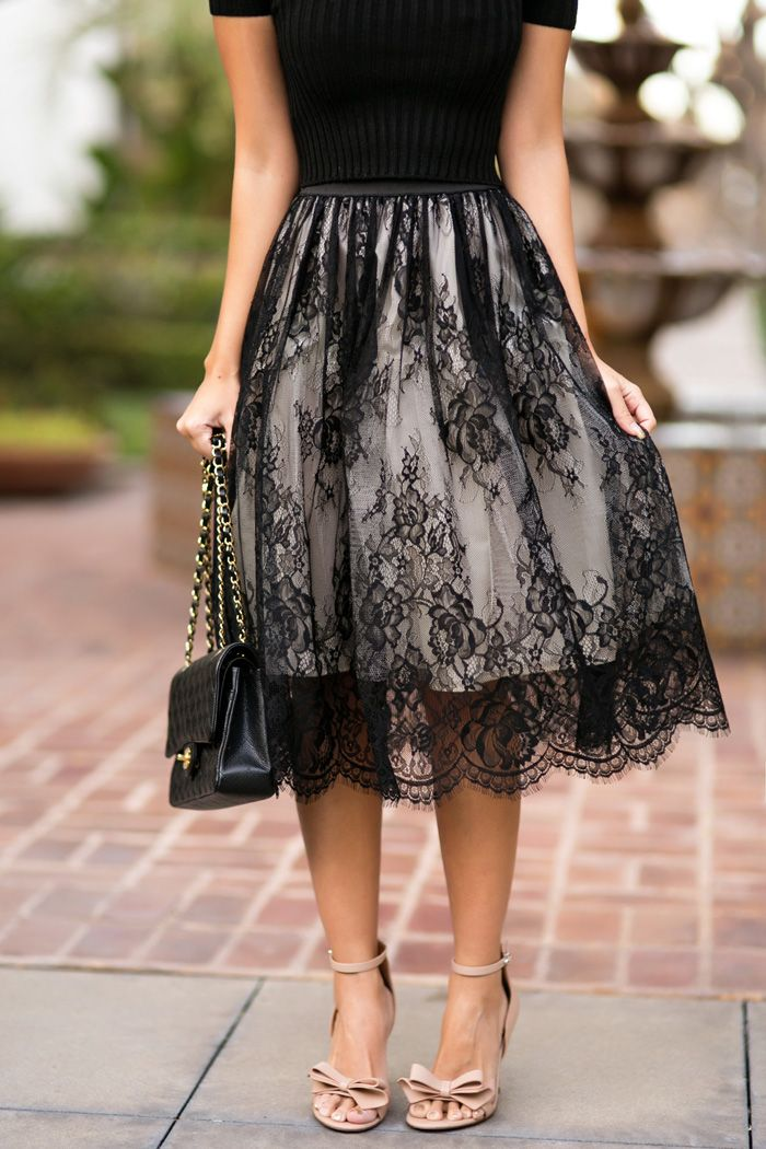 black lace skirt petite fashion blog, lace and locks, los angeles fashion blogger, morning  lavender black QPLSELM