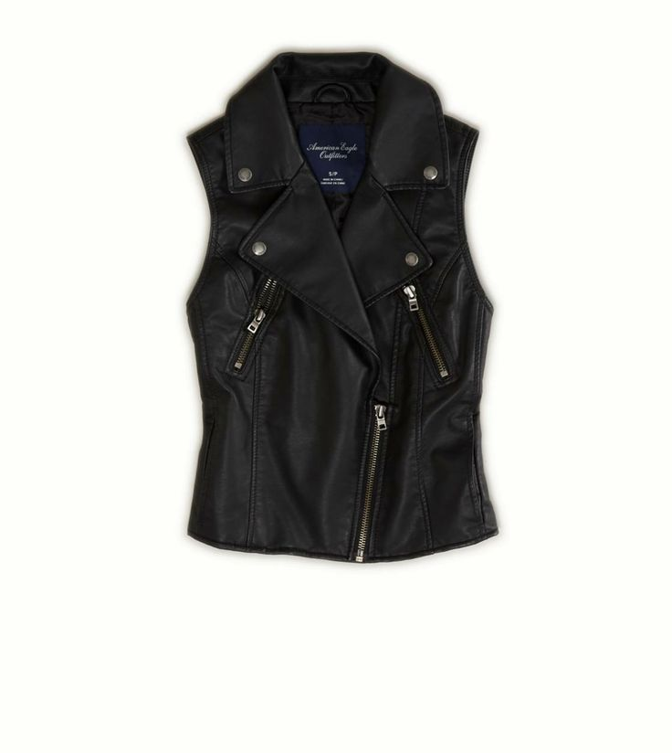 black leather vest aeo star sleeve jean jacket. leather vest outfitblack ... RLIEOOU