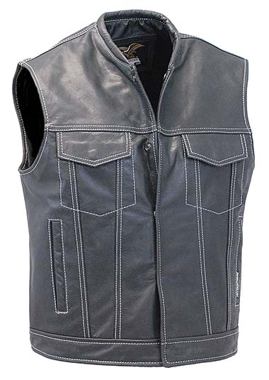 black leather vest menu0027s white stitch black naked leather sleeveless jacket gun vest #vm904gnwk XVFTJWN
