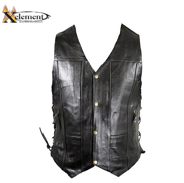 black leather vest xelement b265 menu0027s black 10 pocket premium leather vest - leatherup.com UAGXHTN