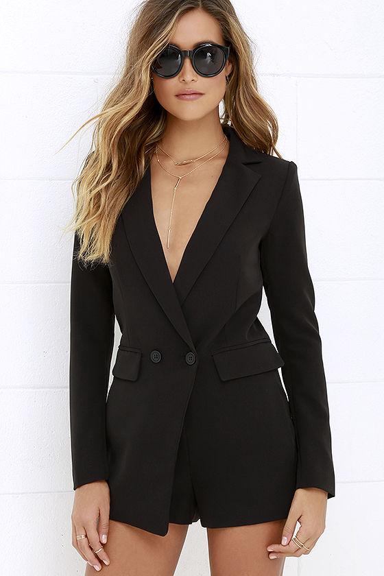black long sleeve romper stylish black romper - long sleeve romper - tuxedo romper- $72.00 YEQGYJR
