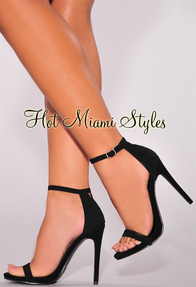 black open toe heels black faux suede open toe ankle strap high heel sandals FLZPKIQ