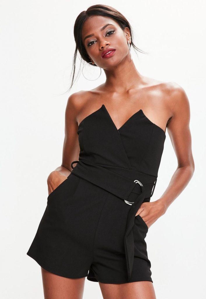 black playsuit black bandeau wrap tux belted playsuit BWRIWVG