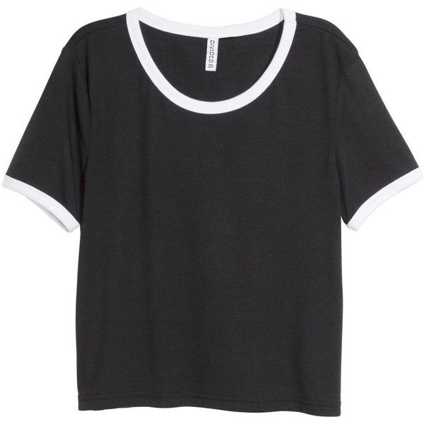 black shirts hu0026m crop top ($11) ❤ liked on polyvore featuring tops, t-shirts JWYIISA