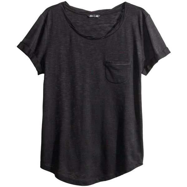 black shirts hu0026m jersey top ($12) ❤ liked on polyvore featuring tops, t-shirts HEMIIWQ