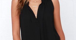 black sleeveless top cute black top - sleeveless top - v neck top - $40.00 JGJTWIR