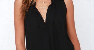 black sleeveless top cute black top - sleeveless top - v neck top - $40.00 JGJTWIR
