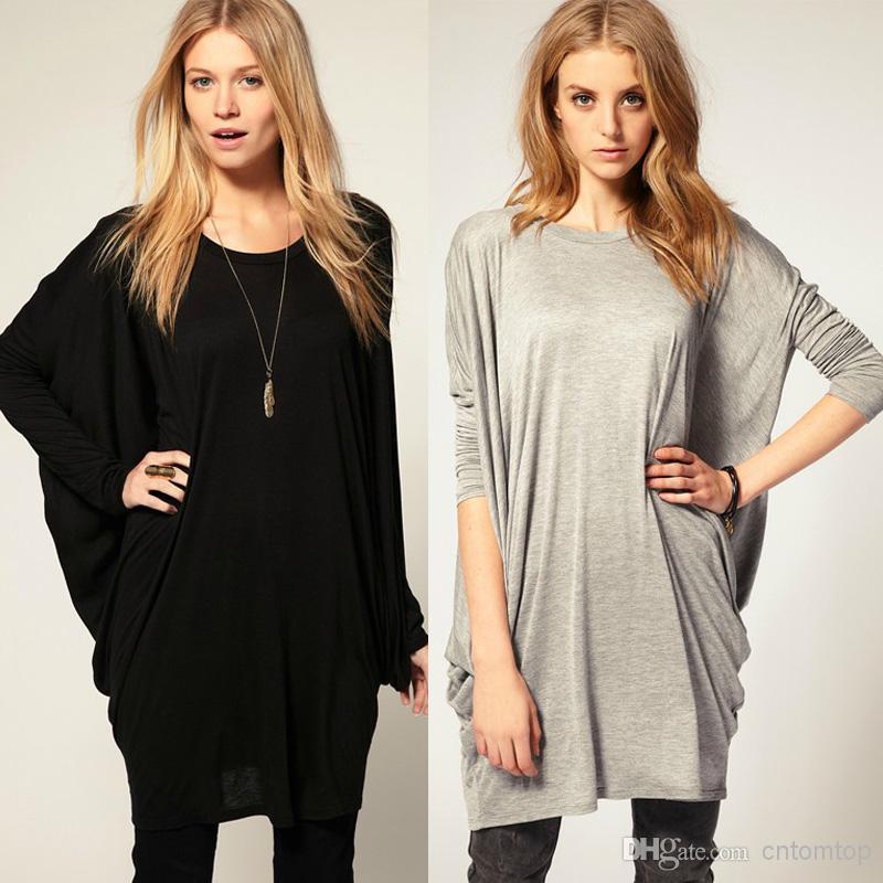 black tops for women new crop tops ladies fashion women black grey long batwing bat sleeve loose USQGMIB