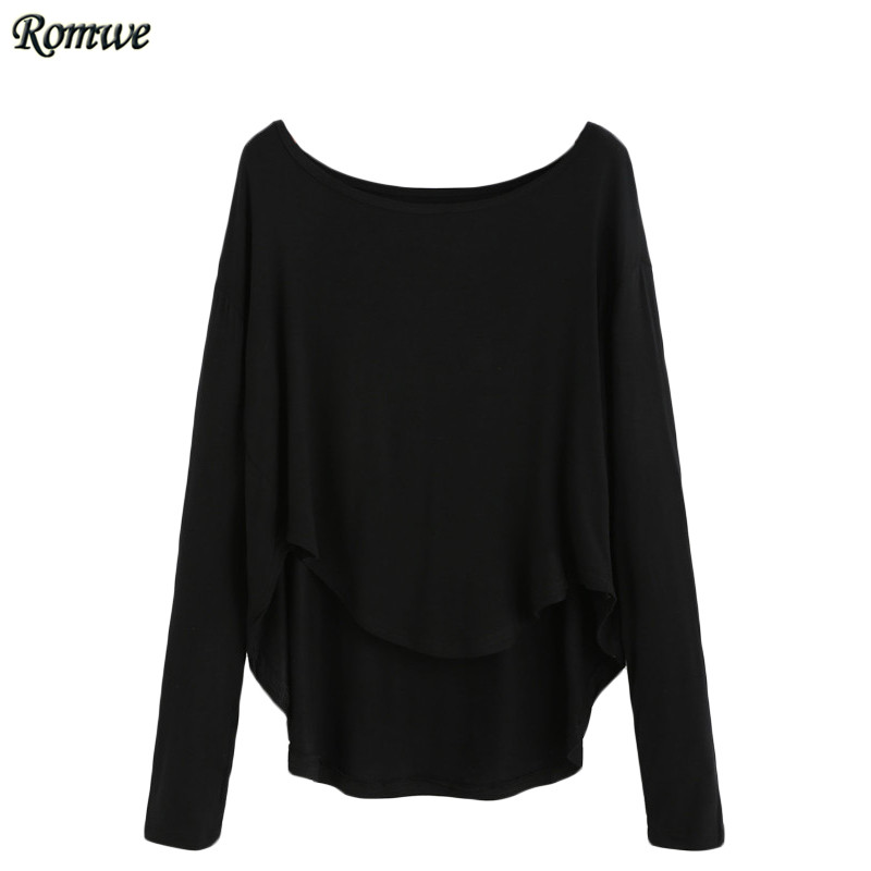 black tops for women romwe autumn t-shirt for women casual tops ladies plain black scoop neck  long HTUKWZZ