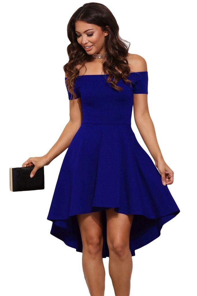 blue all the rage skater high low cocktail dress DQMXQVP