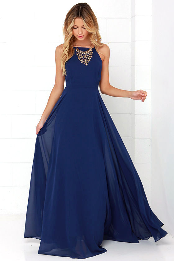 blue dresses beautiful navy blue dress - maxi dress - backless maxi dress - $64.00 MDWPCAI