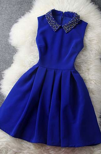 blue dresses blue dress with collar YFXJIAF
