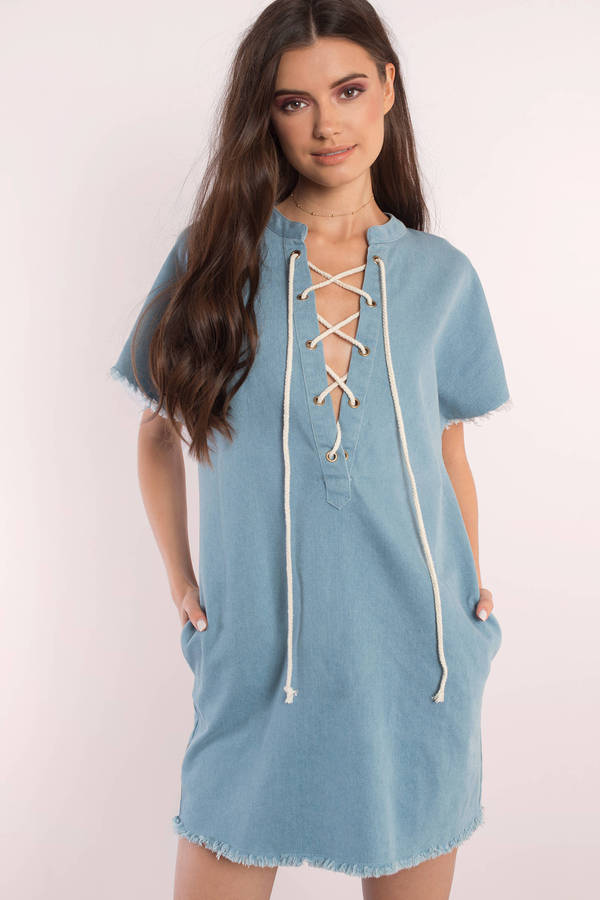 blue dresses, light wash, cristina denim lace up day dress, ... XRUCALK