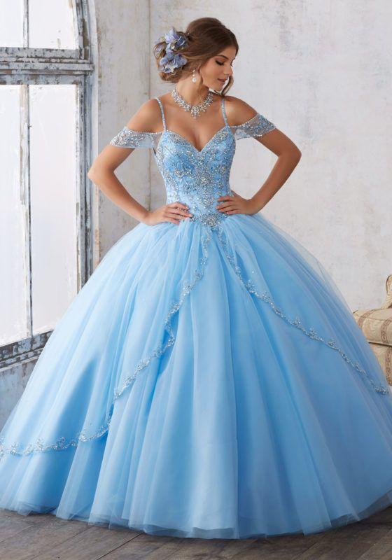 blue dresses morilee quinceañera dresses, quinceañera vizcaya dresses jeweled beading on  a split front tulle GUYNQQJ