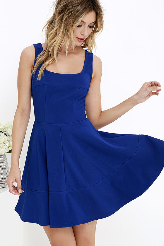 blue dresses pretty cobalt blue dress - skater dress - $42.00 OSZDICB