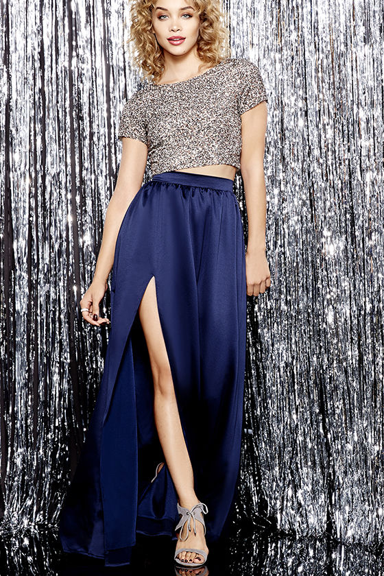 blue maxi skirt beautiful navy blue skirt - maxi skirt - slit skirt - $62.00 RPZCUXT