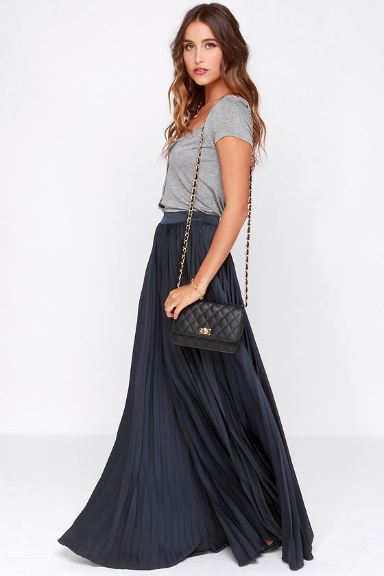 blue maxi skirt pretty navy blue skirt - maxi skirt - accordion pleated skirt - $139.00 MDLYOPR