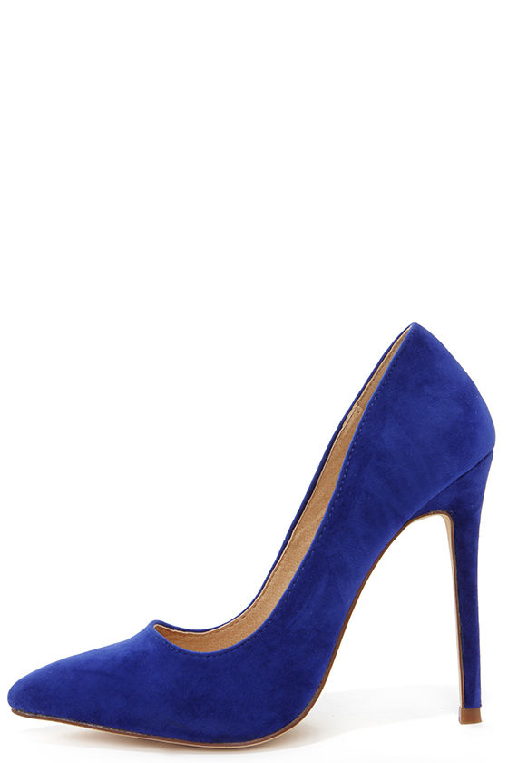 blue suede pumps sexy blue pumps - pointed pumps - royal blue heels - $30.00 UZLGGPZ