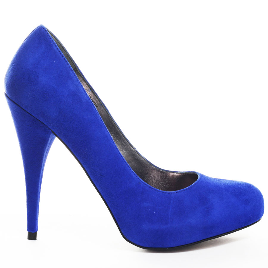 blue suede pumps trinitie heel - blue suede main view QARROEE