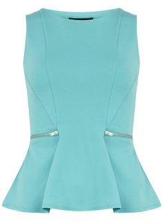 blue tops aqua zip peplum top - sale u0026 offers - dorothy perkins united states AQFVYSS