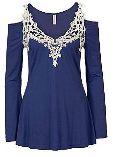 blue tops crochet trim top HPRRRCN