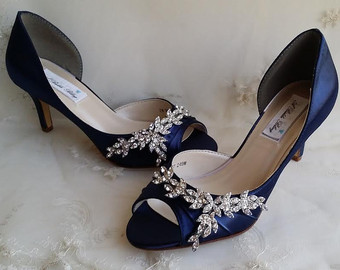blue wedding shoes blue bridal shoes with imported crystal design navy wedding  shoes DLVRZNZ