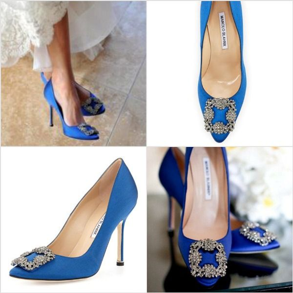 Looking cool with blue wedding shoes