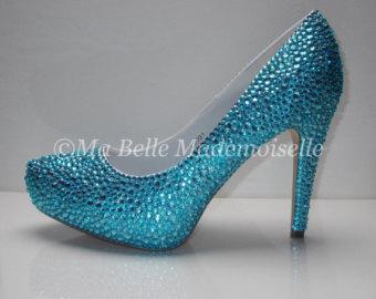 blue wedding shoes something blue crystal shoes, rhinestone shoes, bridal shoes, something blue  wedding shoes, TZWWCFG