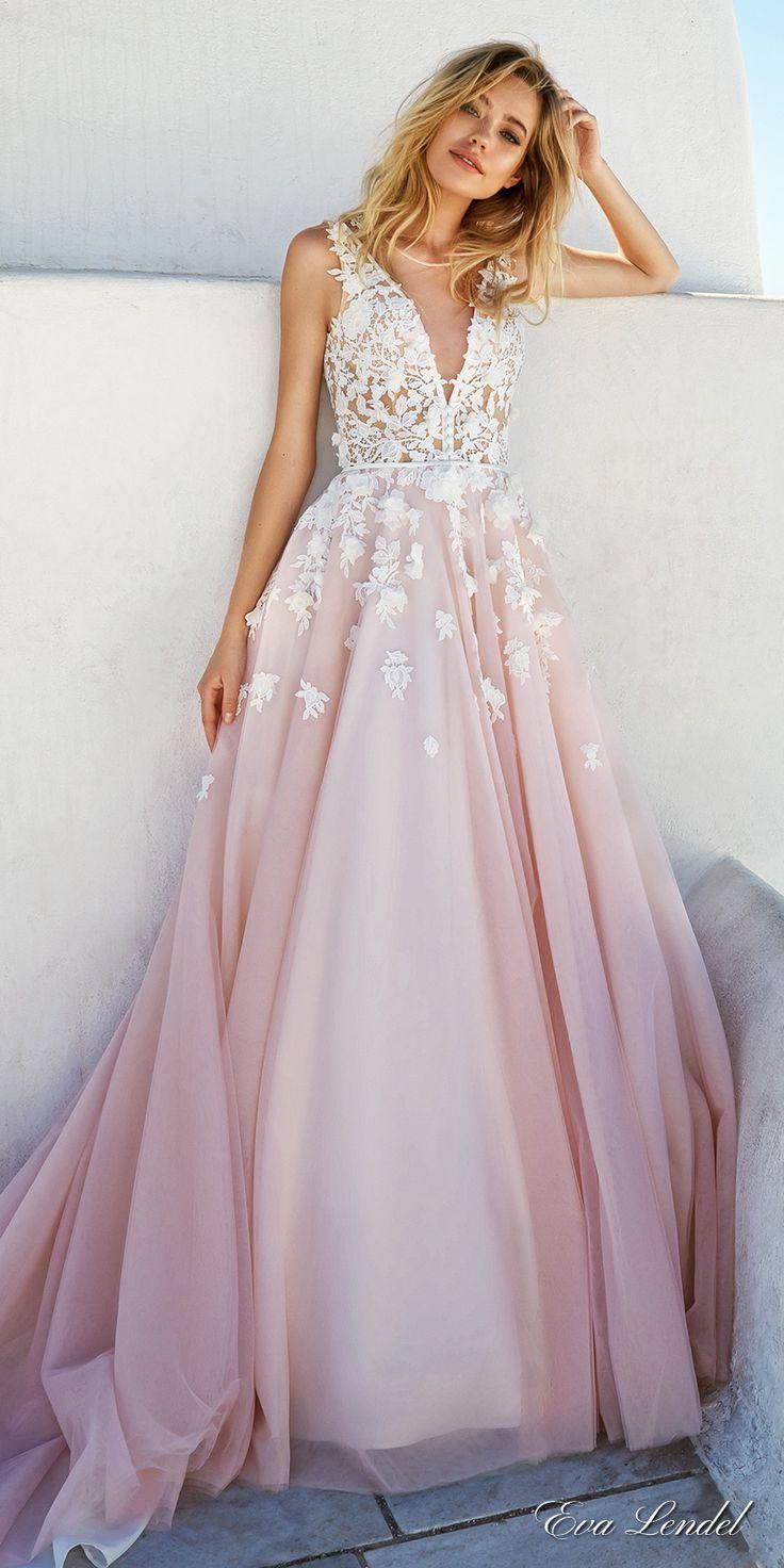 blush wedding dresses 100 colorful non-white wedding dresses MOYCLZN