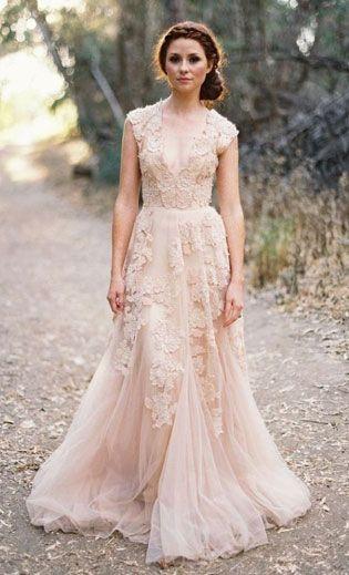 blush wedding dresses love love! we dare you to do a blush wedding dress. it photographs LJBIXWG
