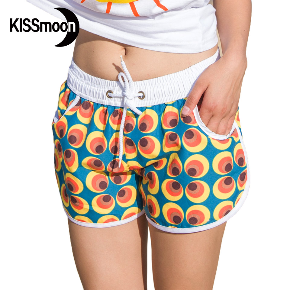 board shorts for women kissyuer quick-drying orange dots eyes clover flowers floral shorts short  women couples women ADNASNC