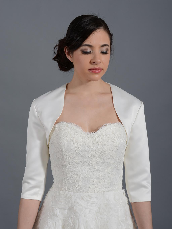bolero jackets 3/4 sleeve wedding satin bolero jacket satin009 OIVGVVH