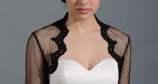bolero jackets black elbow length bridal dot lace wedding bolero jacket lace_081 ZQPUALQ