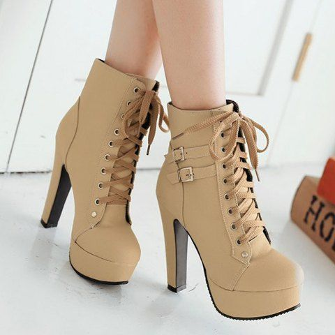 boots heels trendy womenu0027s high heel boots with buckles and solid color design ASEQPZT