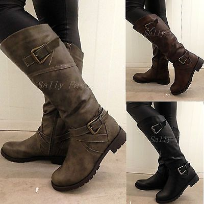 boots women details about new womens knee boots slouchy low heel biker boots fur lined CBYEBCE