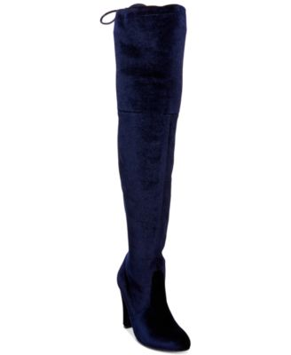 boots women steve madden womenu0027s gorgeous velvet over-the-knee block-heel boots OKQVDUW