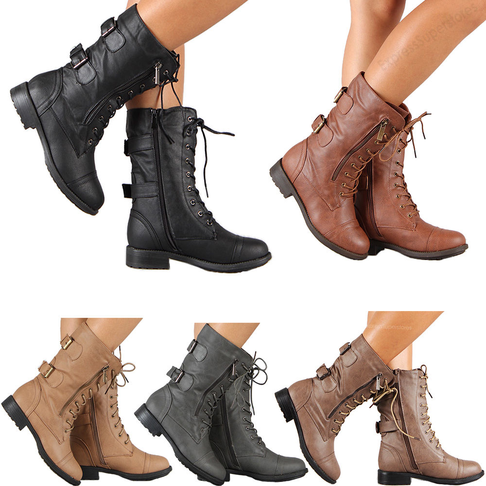 boots women womens combat military boots lace up buckle new women fashion boot shoes  size BIFMRCZ